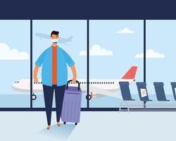 Mann mit Gesichtsmaske und Koffer am Flughafen vektor