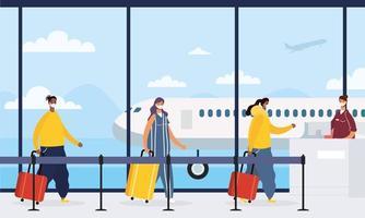 Reisende, die am Flughafen warten, um einen Flug zu erwischen