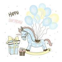Spielzeugpferd Einhorn und Luftballons und Geschenke