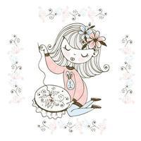 ein Mädchen, das sich mit Handarbeiten und Stickereien beschäftigt