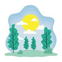söt vårsäsong landskap och klimatscen vektor