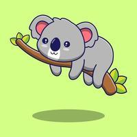 söt koala som sover på gren vektor