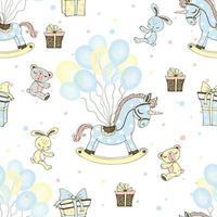 en häst och ballonger för pojkens födelsedag.