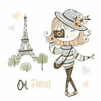 süßes Mädchen mit einer Kamera in Paris. vektor