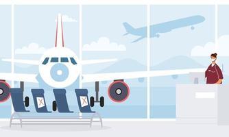 flygplats vardagsrum med social avstånd bakgrund vektor