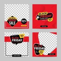 svart fredag försäljning banner sociala medier postmallar vektor