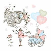 süßes kleines Mädchen mit einem Spielzeug Kinderwagen mit Baby