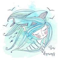 Ein süßes Mädchen träumt vom Meer vektor