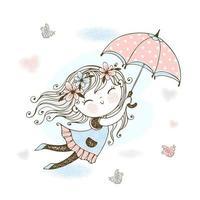 kleines süßes Mädchen fliegt auf einem Regenschirm. vektor
