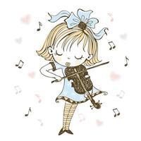 en söt liten flicka spelar fiol vektor