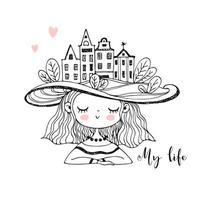 söt tjej med hus på huvudet