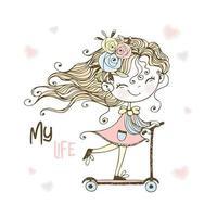 Ein kleines süßes Mädchen fährt einen Roller