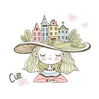 süßes Mädchen in einem Hut mit europäischen Häusern