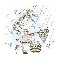 Ein süßes Mädchen fängt Sternschnuppen mit einem Netz. vektor