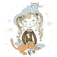 söt perky flicka som sitter med sina katter vektor