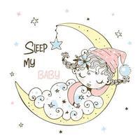 en liten flicka i pyjamas sover vektor