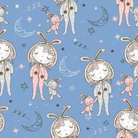 sömlösa mönster med tjejer i pyjamas vektor