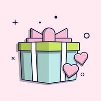 süßes Geschenk andhearts, flaches Design