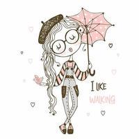 süßes Mädchen mit Regenschirm zu Fuß