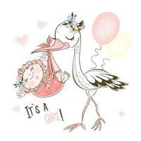 Der Storch brachte das kleine Mädchen.
