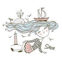 süßes Matrosenmädchen mit Schiffen und einem Wal vektor