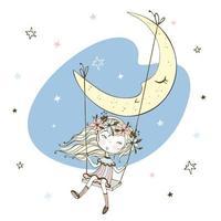 kleines Mädchen schwingt auf dem Mond. vektor