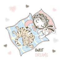 söt baby flicka sover i hennes spjälsäng vektor