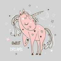 süßes süßes Einhorn schläft vektor