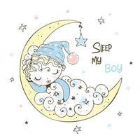 söt pojke i en sova mössa vektor