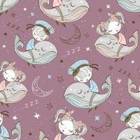 nahtloses Muster von niedlichen Kindern, die auf Walen schlafen
