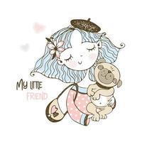 süßes Mädchen in einer Baskenmütze mit Haustier