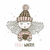 söt tjej dricka varmt kaffe