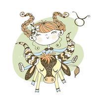 stjärntecken Oxen. roliga barns horoskop vektor
