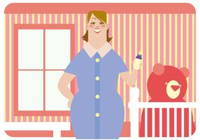 Lächelnd Kindermädchen Vektor