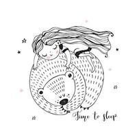Mädchen schläft süß auf einem großen Bären