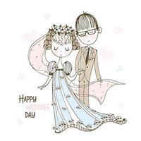 Braut und Bräutigam bei der Hochzeit vektor