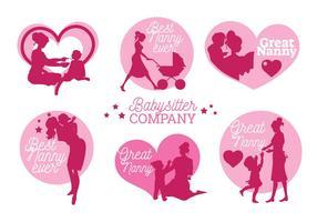 Set von Nanny-Etiketten und Abzeichen-Vektoren
