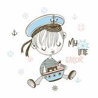 kleiner Seemannsjunge in der Mütze mit Spielzeugboot