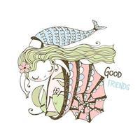 süße Meerjungfrau spielt mit Krebs Muschel vektor