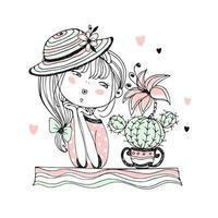 en söt flicka beundrar en blommande kaktus vektor