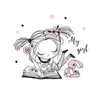 en söt liten flicka läser en bok vektor