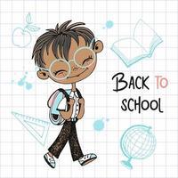 söt pojke går i skolan. tillbaka till skolan