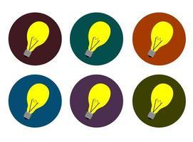 flache Art Lampe Icon Set