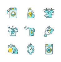 tvätt typer ikoner set.