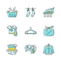 Tvättservice och rengöring ikoner set.