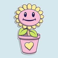 niedlicher rosa Sonnenblumen-Cartoon