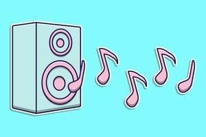 Flat Design Cartoon Lautsprecher für Musik vektor