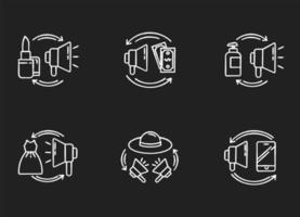 marknadsföring krita vita ikoner set