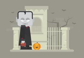 Halloween-Illustration mit Vampir und Kürbis