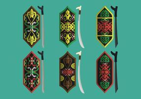 Dayak Shield Tribal Motiv och Vapen Vector Collection
